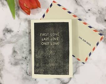 First love, Last love, Only love - Maccabees lyrics hand carved Valentines card