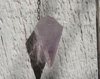 Amethyst pendulum with metal chain