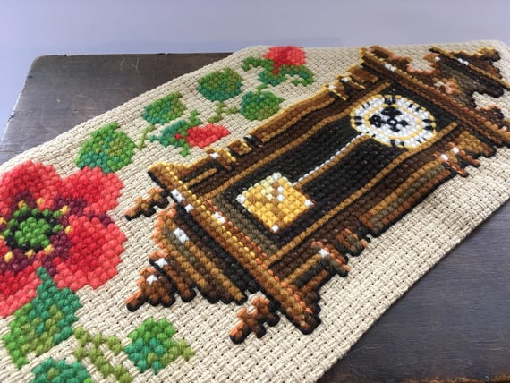 Vintage Swedish Embroidery Featuring A Wall Clock Wall Art Etsy