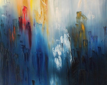 Lost Reality - Original Giclee Print of Fine Art Large Abstract Blue Red Yellow Oil Painting by David Lovett