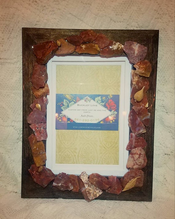 Decoupage frame with red agate