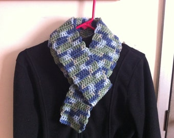 Green, Blue, and Light Blue Scarf