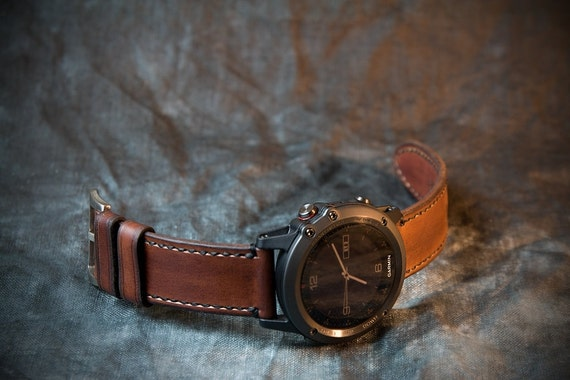 Fenix 3 and 5 Leather Watch Strap Whiskey | Etsy