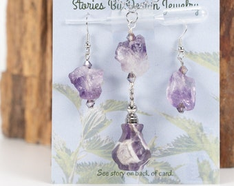 Jewelry with a Story, Essential Oils vessel, Amethyst necklace set, Amethyst earrings, Amethyst necklace, Perfume decanter