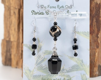 Jewelry with a Story, Essential Oils vessel, Black Onyx necklace / earring set, Perfume decanter, Onyx necklace