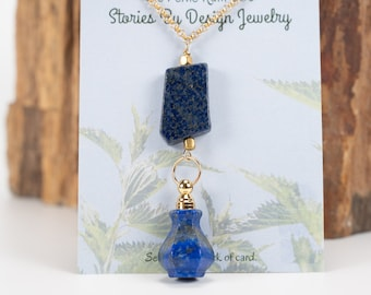 Jewelry with a Story, Essential Oils vessel, Lapis necklace, Perfume decanter