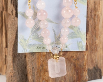 Jewelry with a Story, Essential Oils vessel, Rose Quartz necklace/ earring set, Perfume decanter, Rose Quartz necklace, Rose Quartz earrings