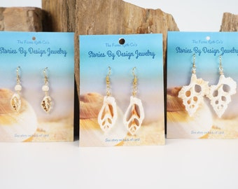 Jewelry with a Story, Sliced Shell earrings, beach earrings, THREE STYLES-see all pictures
