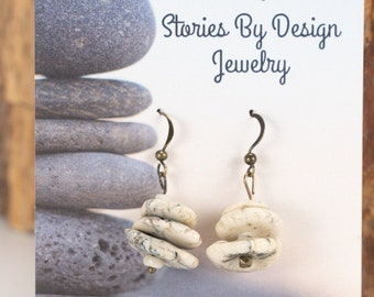 Jewelry with a Story, Memorial Stone earrings, Inspirational, 3 stacked ivory and gray stone earrings