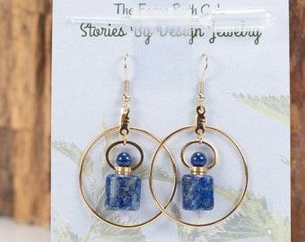 Jewelry with a Story, Essential Oils vessel, Lapis earrings, hoop earrings, Perfume decanter