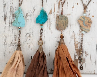 Jasper necklace, Aqua Terra Jasper necklace, Tassel Pendant necklace, 4 Pictures--different styles!