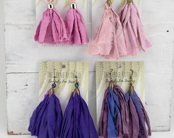 Earring Tassels, Shabby Chic earring tassels, Sari silk earring tassels, silk tassel, pink tassel earrings, purple tassel earrings