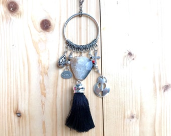 Black and silver necklace, Agate necklace, Love necklace, Brighton-like, key necklace--2 necklaces--view pictures!