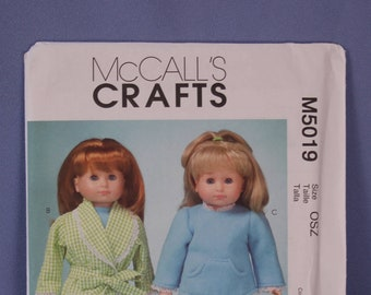 """McCall's Pattern #5019, 18"""" Doll Clothes And Accessories, New & Uncut"""