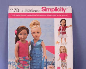 """Simplicity Pattern #1178, 18"""" Doll Clothes, New & Uncut"""