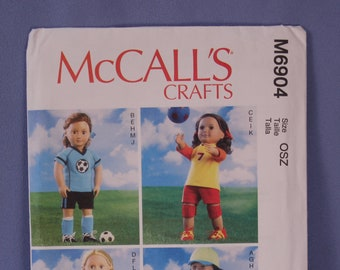 """McCall's Pattern #6904, 18"""" Doll Clothes, Sports, New & Uncut"""