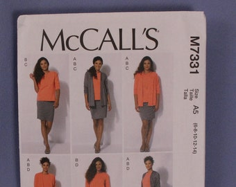 McCall's Pattern M7331, Misses' Jacket, Top, Skirt & Pants, Nancy Zieman, Sizes 6-14, New, Uncut