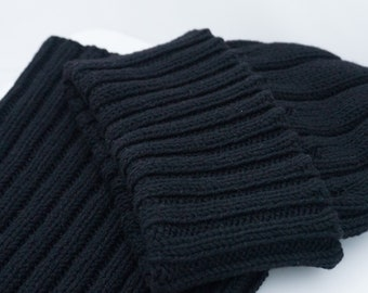 0447896dfa2 Cashmere Men s Cowl   Beanie Hat Black Merino WWII Watch Cap Style