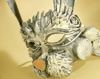 White Rabbit Paper Mask, papercraft mask, Alice in Wonderland, Tea party