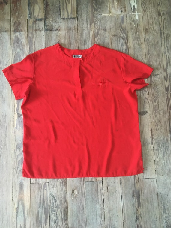 Campus casuals silky red blouse