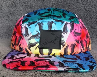 Antelope 5 Panel Snapback Hat / Antelope Prism Pattern with Rubber Patch