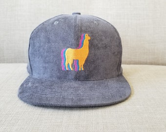 309201bb3c6 Llama Snapback Hat   Charcoal Corduroy with Tangerine Llama