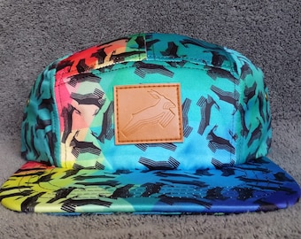 Antelope 5 Panel Snapback Hat   Antelope Prism Pattern with Leather Patch 108b5cac7330