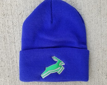 cc9faaaad98 Antelope Beanie in Royal Blue with Whalers Antelope