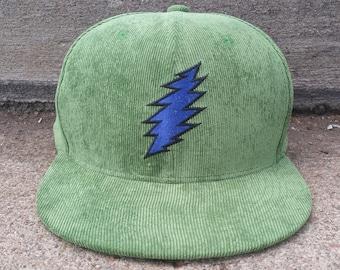 Bolt Snapback Hat / Green Corduroy with Blue Bolt