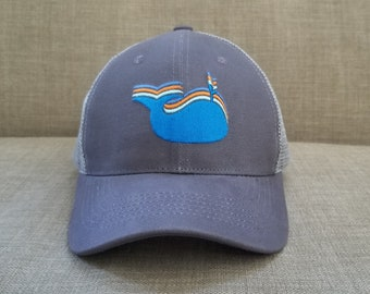 Whale Meshback Hat / Grey Cotton with Ash Mesh and Blue Whale