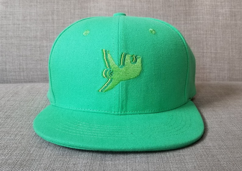 10c5fa52b9d Sloth Snapback Hat   Kelly Green Cotton Canvas with Lime Green