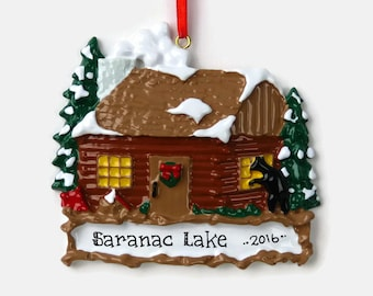 log cabin personalized ornament camping hand personalized christmas ornament