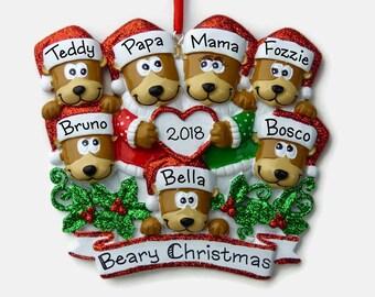 7 teddy bears ornament beary christmas family of seven personalized ornament hand personalized ornament