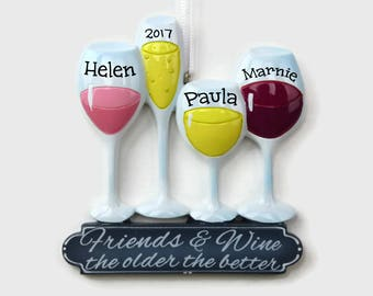 friends and wine personalized ornament wine ornament hand personalized christmas ornament