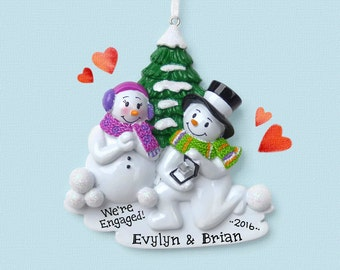Engagement Snowman Couple  - She Said Yes! - Will You Marry Me? - Hand Personalized Christmas Ornament