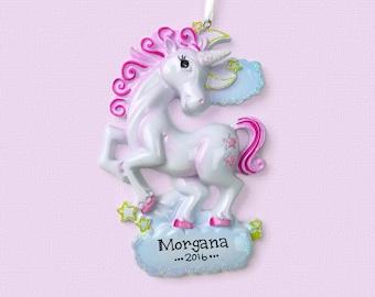 Unicorn Personalized Ornament - Hand Personalized Christmas Ornament