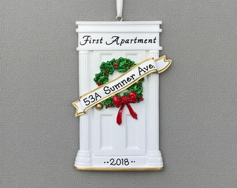 White Door - First Apartment -  New Home - Personalized Ornament - Hand Personalized Christmas Ornament