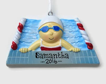 swimmer girl personalized ornament swim team swimming lessons hand personalized christmas ornament