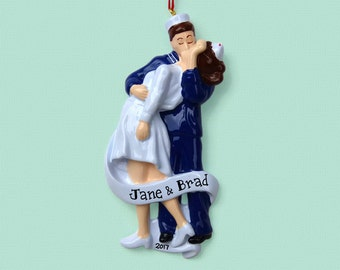 V-J Day Kissing Couple Personalized Ornament - Sailor and Nurse - Hand Personalized Christmas Ornament