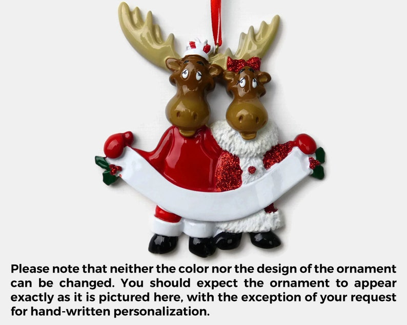 Moose Couple Personalized Ornament Hand Personalized Christmas Ornament