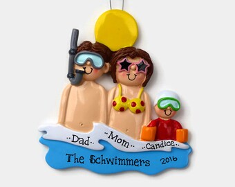 3 Swimmers at the Beach Personalized Ornament - Vacation - Family Personalized Ornament