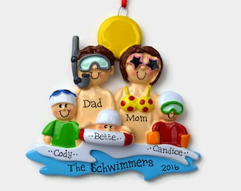 5 Swimmers at the Beach Personalized Ornament - Vacation - Family Personalized Ornament