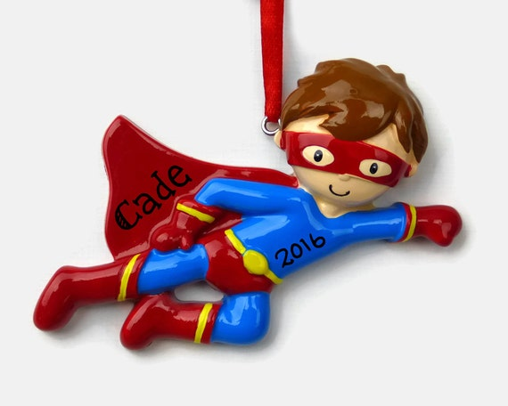 Hand Personalized Christmas Ornament Costume Super Hero Mask and Cape Black and Gray Superhero Boy Personalized Ornament