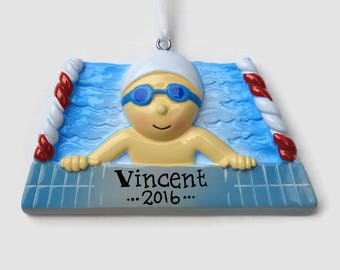 Swimmer Boy Personalized Ornament - Swim Team - Swimming Lessons - Hand Personalized Christmas Ornament