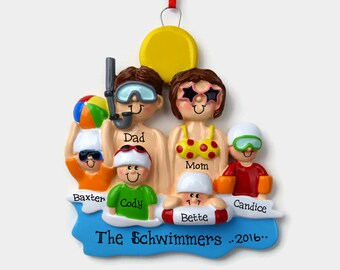 6 Swimmers at the Beach Personalized Ornament - Vacation - Family Personalized Ornament