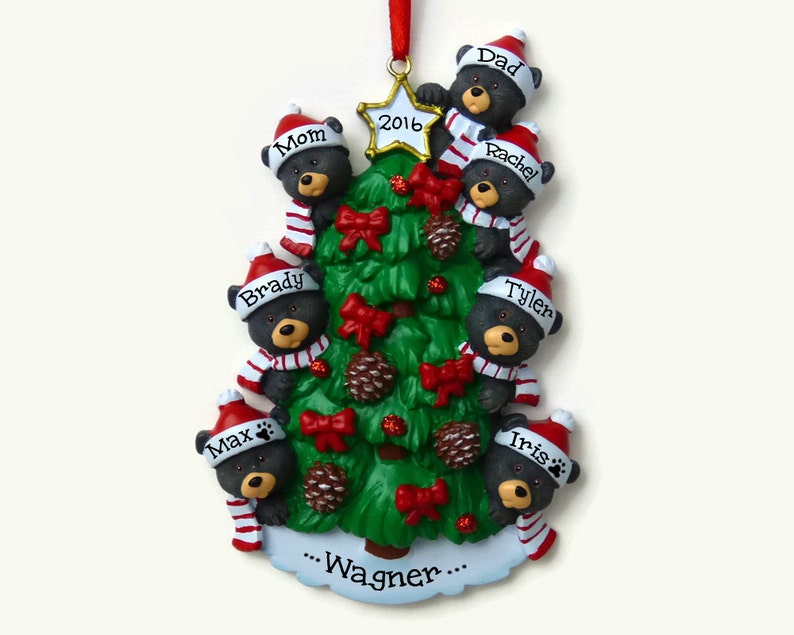 Hand Personalized Ornament 7 Bears on a Christmas Tree Bear Family of Seven