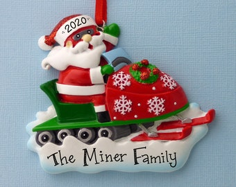 Santa on a Snowmobile Personalized Ornament - Snow Machine - Hand Personalized Christmas Ornament