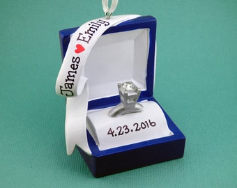 Engagement Ring Personalized Ornament - Ring Box - She Said Yes! - Will You Marry Me? - Hand Personalized Christmas Ornament