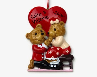 Engagement Bear Couple  - She Said Yes! - Will You Marry Me? - Hand Personalized Christmas Ornament