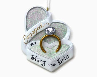 Gold Engagement Ring Ornament // Engagement Gift // Heart Shaped Box // Personalized Christmas Ornaments for Couples